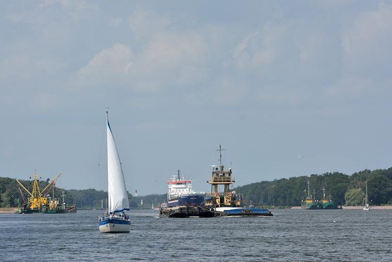 De rivier de Swina naar Haf van Szczecin